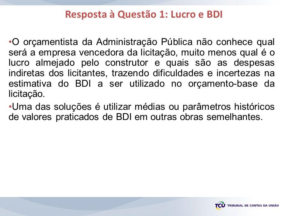 Resposta à Questão 1: Lucro e BDI O orçamentista da Administração Pública não conhece qual será a empresa vencedora da licitação, muito menos qual é o