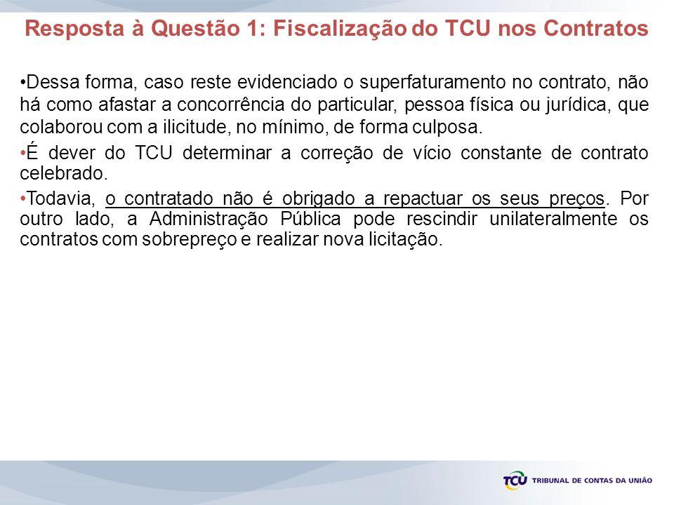 Resposta à Questão 1: Fiscalização do TCU nos Contratos Dessa forma, caso reste evidenciado o superfaturamento no contrato, não há como afastar a conc