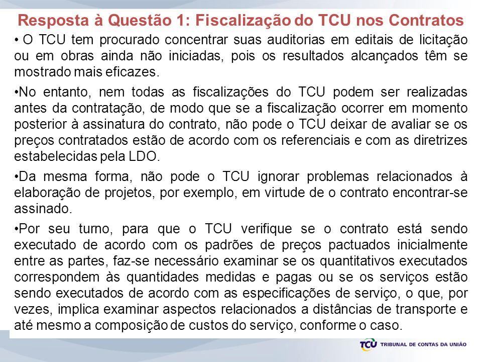 Resposta à Questão 1: Fiscalização do TCU nos Contratos O TCU tem procurado concentrar suas auditorias em editais de licitação ou em obras ainda não i