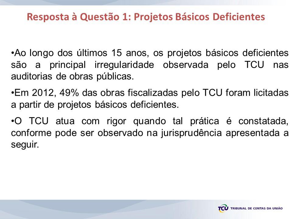 Resposta à Questão 1: Projetos Básicos Deficientes Ao longo dos últimos 15 anos, os projetos básicos deficientes são a principal irregularidade observ