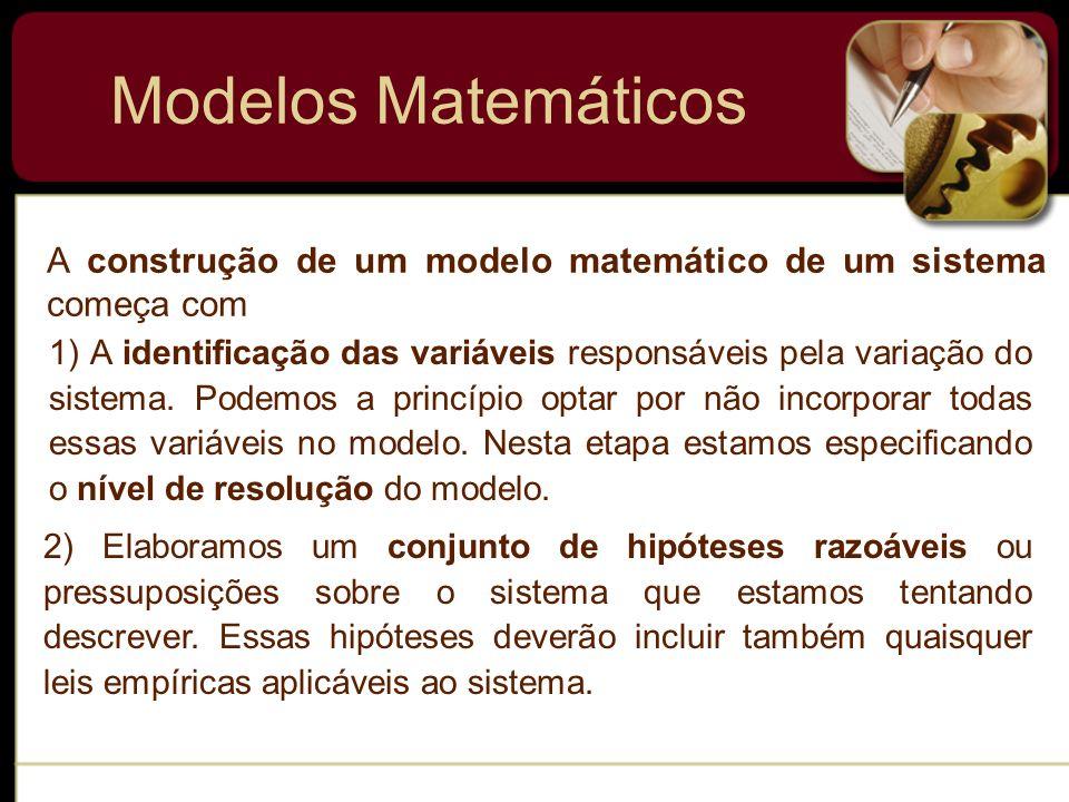 Modelos Matemáticos Como as hipóteses de um sistema envolvem frequentemente uma taxa de variação de uma ou mais variáveis, a descrição matemática de todas essas hipóteses pode ser uma ou mais equações envolvendo derivadas.