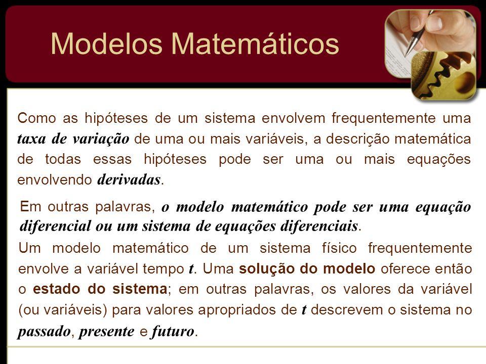 Modelos Matemáticos Hipóteses Expresse as hipóteses em termos de equações diferenciais Formulação Matemática Compare as predições do modelo com os fatos conhecidos Exponha as predições do modelo (por exemplo, graficamente) Obtenha as Soluções Se necessário altere as hipóteses ou aumente a resolução do modelo Resolva as EDs