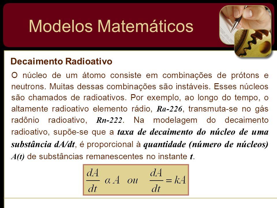 Modelos Matemáticos Crescimento de um Capital O mesmo modelo pode descrever o crescimento de um capital S quando uma taxa anual de juros r é composta continuamente.