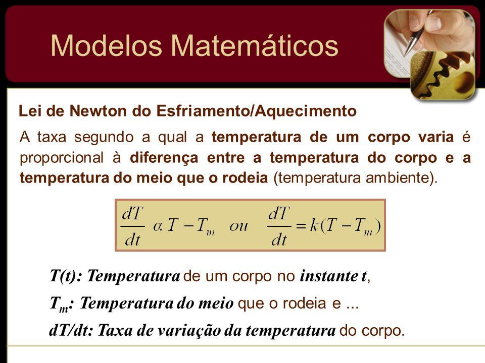 Modelos Matemáticos Corpos em Queda Para construir um modelo matemático do movimento de um corpo em um campo de força, iniciamos com a 2ª lei de Newton.