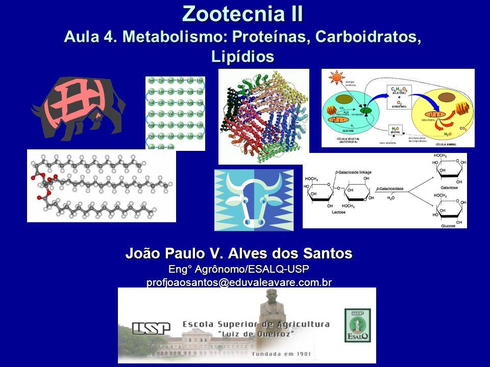 Zootecnia II Aula 4. Metabolismo: Proteínas, Carboidratos, Lipídios João Paulo V. Alves dos Santos Eng° Agrônomo/ESALQ-USP profjoaosantos@eduvaleavare