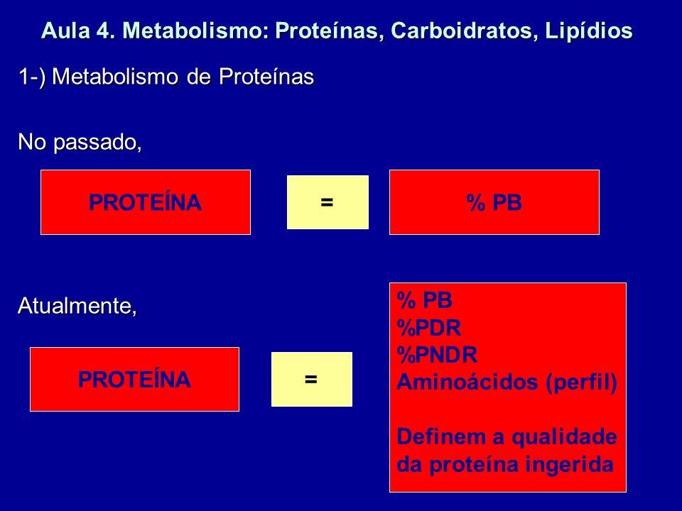 Aula 4. Metabolismo: Proteínas, Carboidratos, Lipídios 1-) Metabolismo de Proteínas No passado, Atualmente, PROTEÍNA = % PB PROTEÍNA = % PB %PDR %PNDR