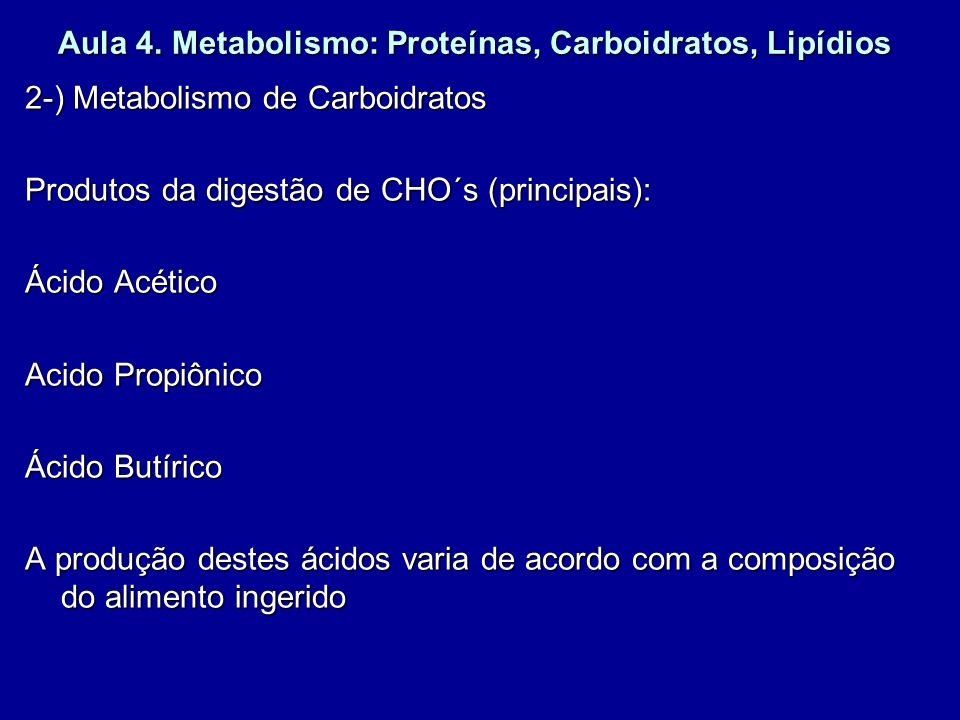 Aula 4. Metabolismo: Proteínas, Carboidratos, Lipídios 2-) Metabolismo de Carboidratos Produtos da digestão de CHO´s (principais): Ácido Acético Acido