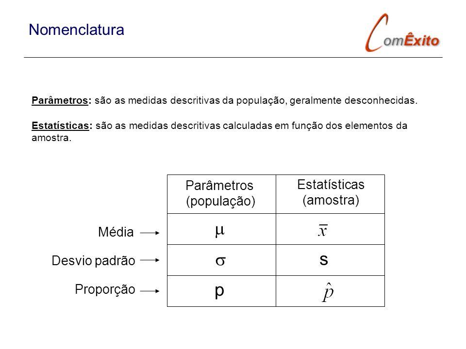 Parâmetros: são as medidas descritivas da população, geralmente desconhecidas. Estatísticas: são as medidas descritivas calculadas em função dos eleme