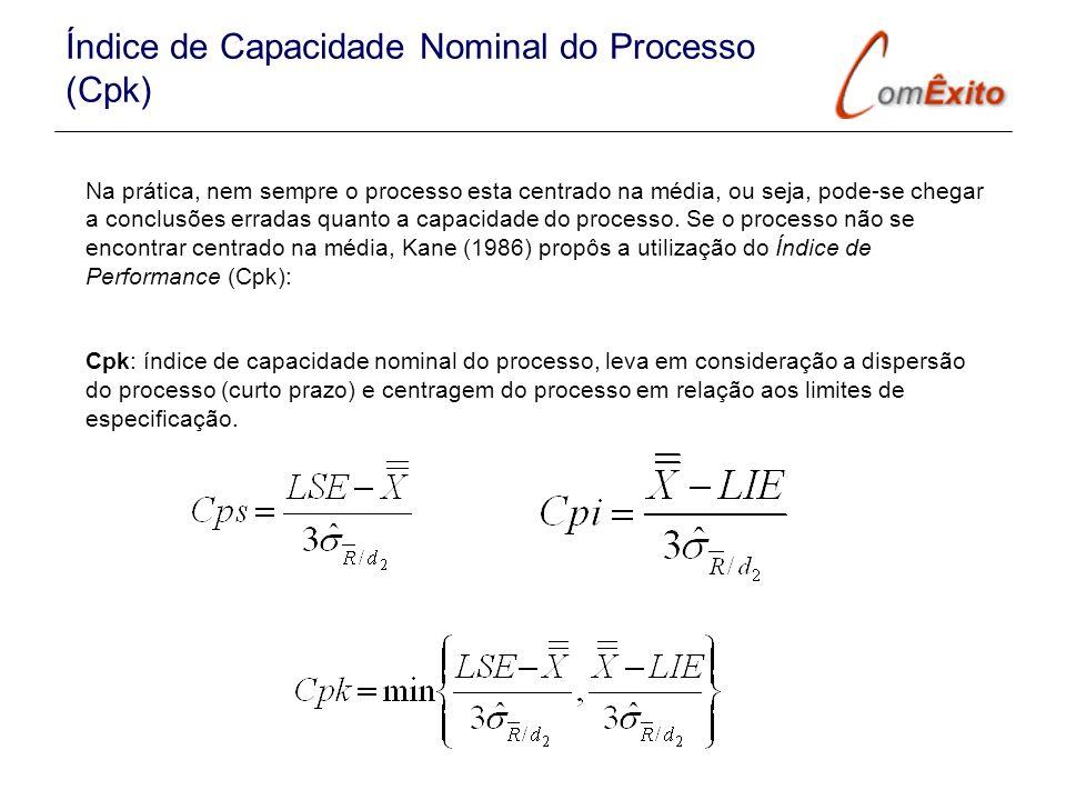 Na prática, nem sempre o processo esta centrado na média, ou seja, pode-se chegar a conclusões erradas quanto a capacidade do processo. Se o processo
