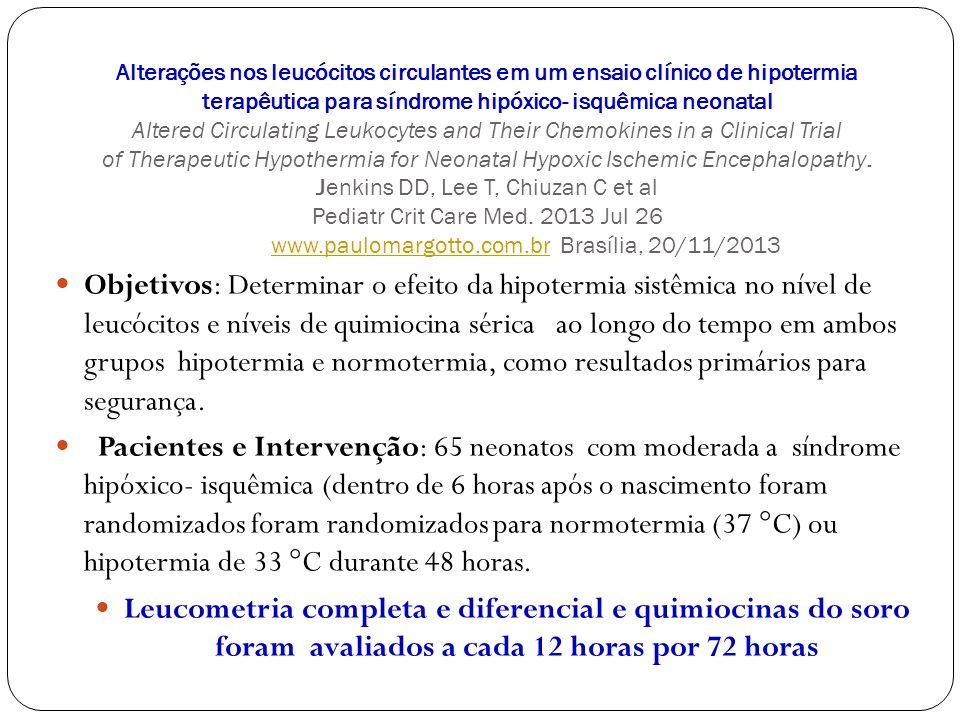 Alterações nos leucócitos circulantes em um ensaio clínico de hipotermia terapêutica para síndrome hipóxico- isquêmica neonatal Altered Circulating Le