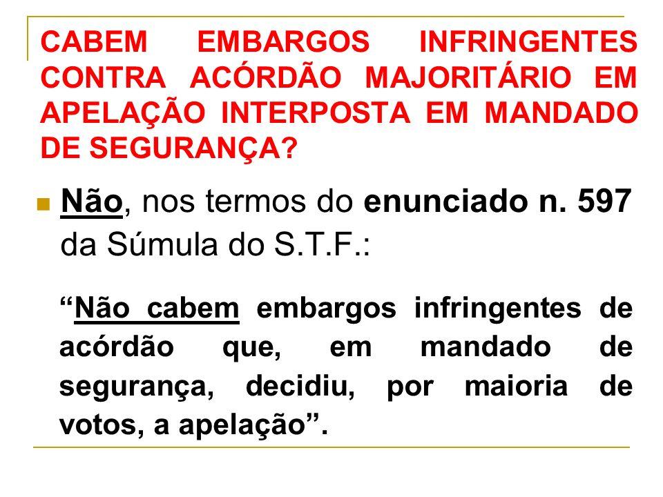 CABEM EMBARGOS INFRINGENTES CONTRA ACÓRDÃO MAJORITÁRIO EM APELAÇÃO INTERPOSTA EM MANDADO DE SEGURANÇA.