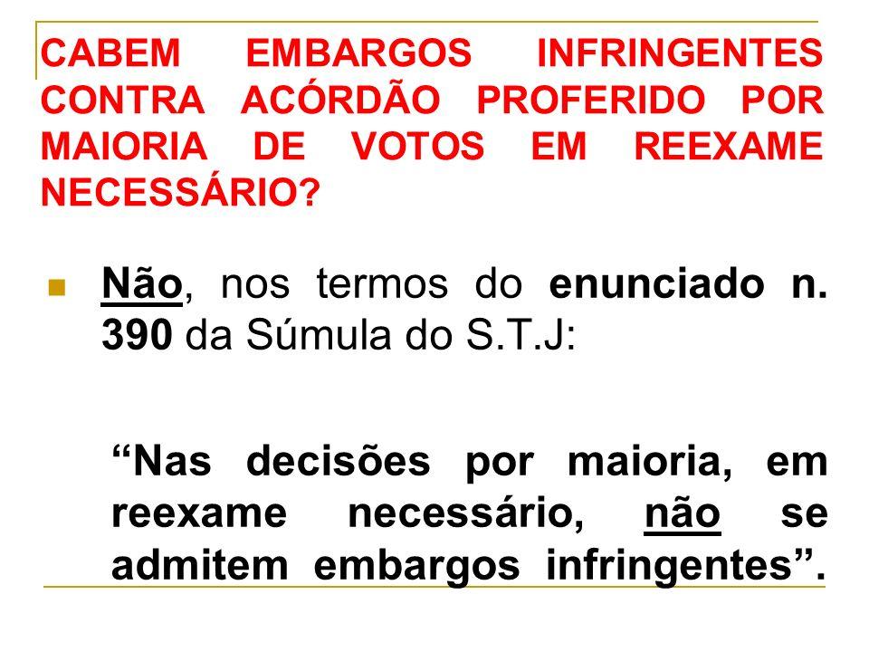 CABEM EMBARGOS INFRINGENTES CONTRA ACÓRDÃO PROFERIDO POR MAIORIA DE VOTOS EM REEXAME NECESSÁRIO.