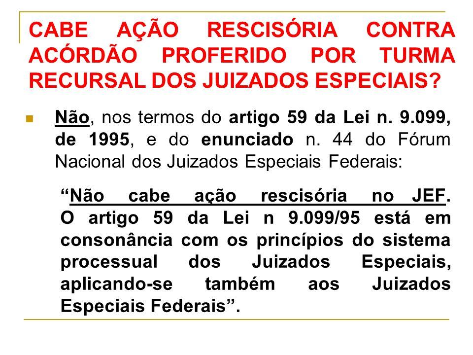 CABE AÇÃO RESCISÓRIA CONTRA ACÓRDÃO PROFERIDO POR TURMA RECURSAL DOS JUIZADOS ESPECIAIS.
