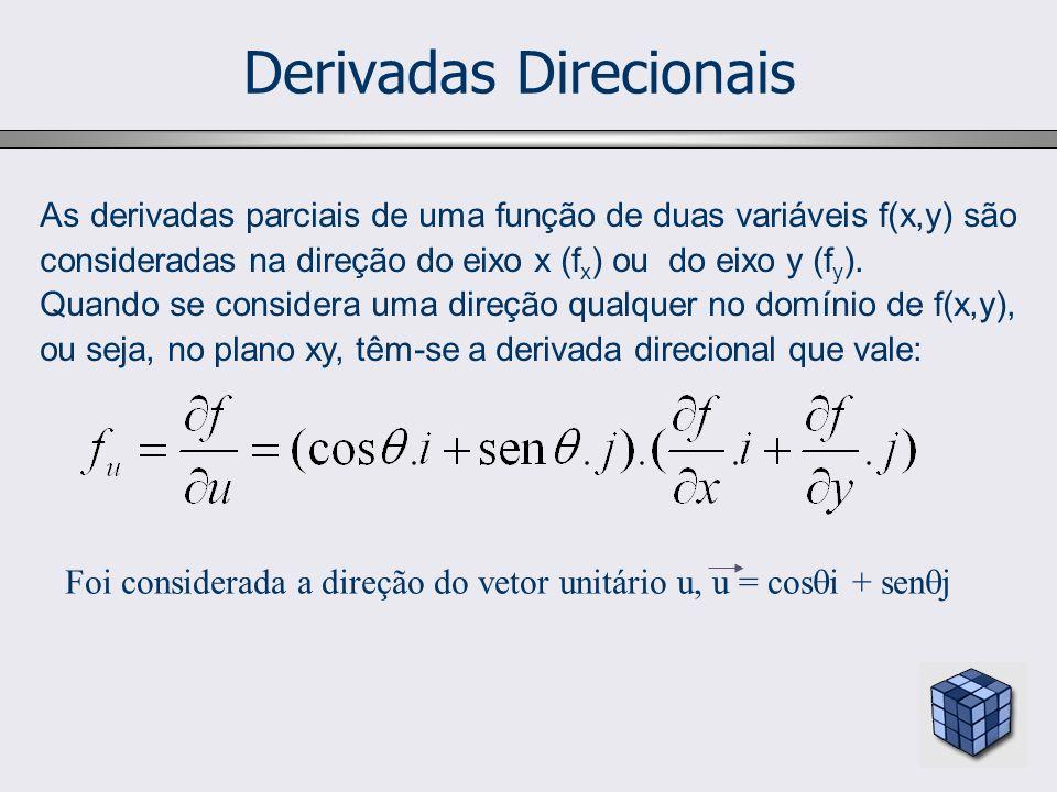 Derivadas Direcionais As derivadas parciais de uma função de duas variáveis f(x,y) são consideradas na direção do eixo x (f x ) ou do eixo y (f y ).