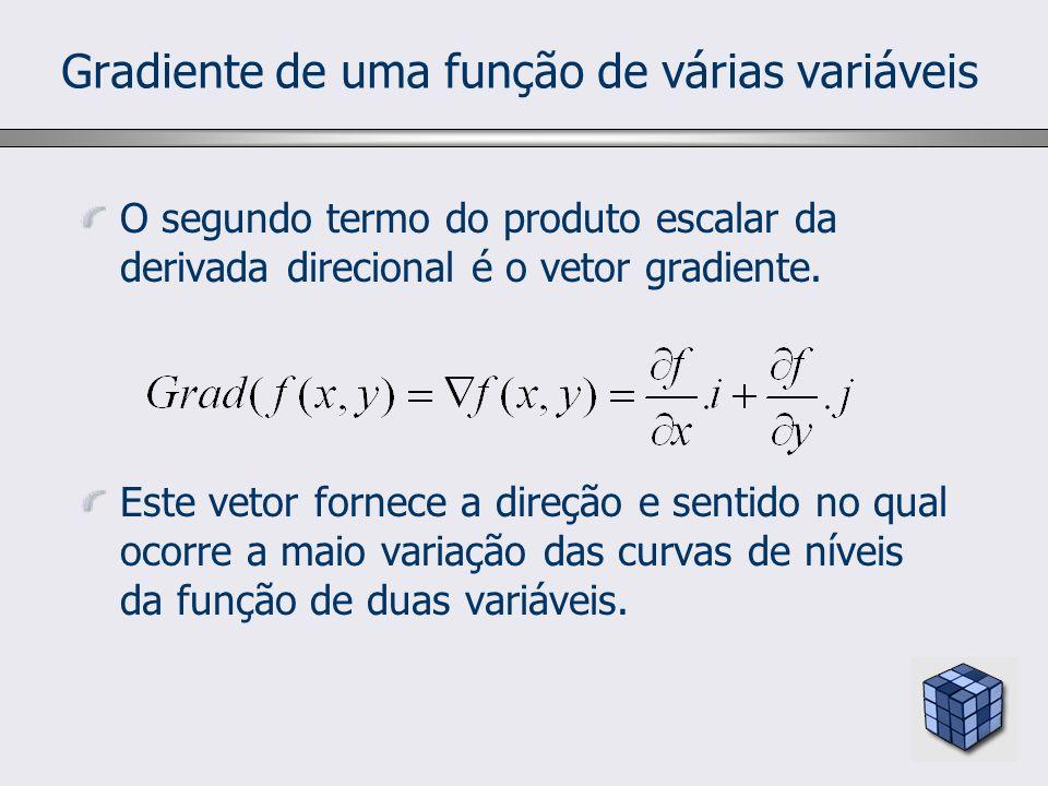 Gradiente de uma função de várias variáveis O segundo termo do produto escalar da derivada direcional é o vetor gradiente. Este vetor fornece a direçã