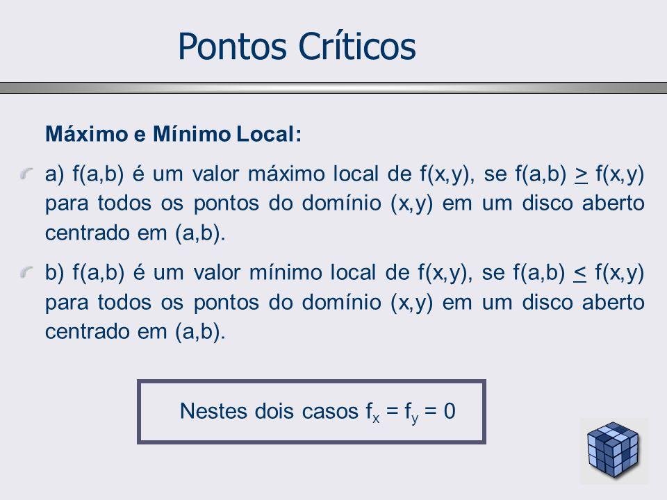 Pontos Críticos Máximo e Mínimo Local: a) f(a,b) é um valor máximo local de f(x,y), se f(a,b) > f(x,y) para todos os pontos do domínio (x,y) em um disco aberto centrado em (a,b).