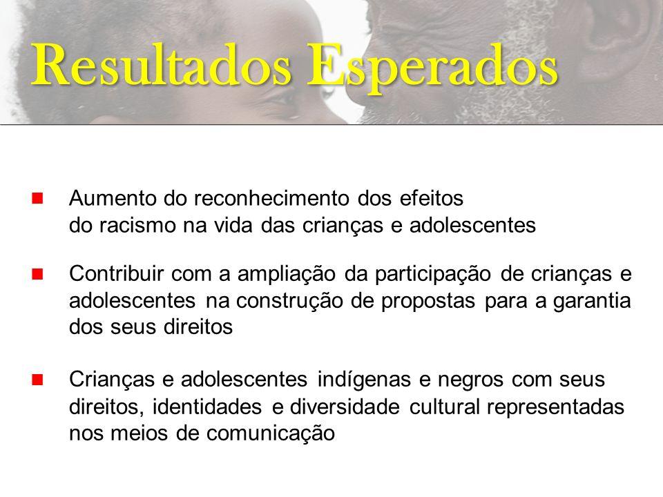 Aumento do reconhecimento dos efeitos do racismo na vida das crianças e adolescentes Resultados Esperados Contribuir com a ampliação da participação d