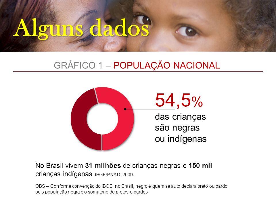 Alguns dados 54,5 % das crianças são negras ou indígenas No Brasil vivem 31 milhões de crianças negras e 150 mil crianças indígenas IBGE/PNAD, 2009. O