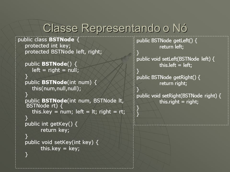Classe Representando o Nó public class BSTNode { protected int key; protected BSTNode left, right; public BSTNode() { left = right = null; } public BSTNode(int num) { this(num,null,null); } public BSTNode(int num, BSTNode lt, BSTNode rt) { this.key = num; left = lt; right = rt; } public int getKey() { return key; } public void setKey(int key) { this.key = key; } public BSTNode getLeft() { return left; } public void setLeft(BSTNode left) { this.left = left; } public BSTNode getRight() { return right; } public void setRight(BSTNode right) { this.right = right; }