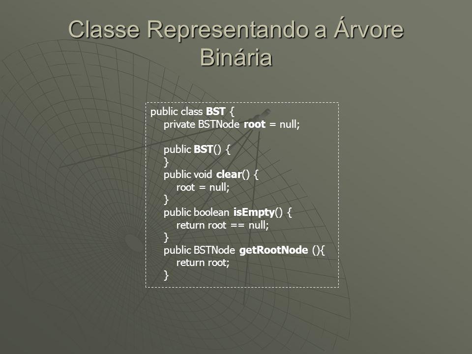 Classe Representando a Árvore Binária public class BST { private BSTNode root = null; public BST() { } public void clear() { root = null; } public boo