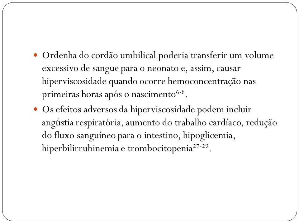 Ordenha do cordão umbilical poderia transferir um volume excessivo de sangue para o neonato e, assim, causar hiperviscosidade quando ocorre hemoconcen