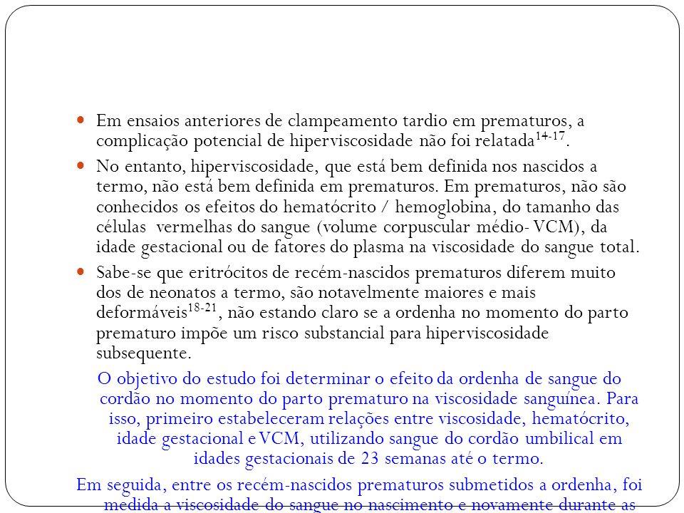 Em ensaios anteriores de clampeamento tardio em prematuros, a complicação potencial de hiperviscosidade não foi relatada 14-17. No entanto, hipervisco