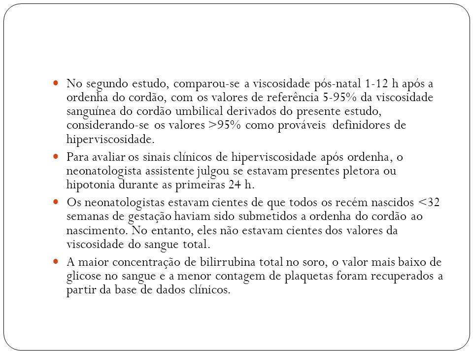 No segundo estudo, comparou-se a viscosidade pós-natal 1-12 h após a ordenha do cordão, com os valores de referência 5-95% da viscosidade sanguínea do