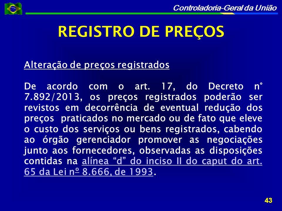 Controladoria-Geral da União Alteração de preços registrados De acordo com o art.