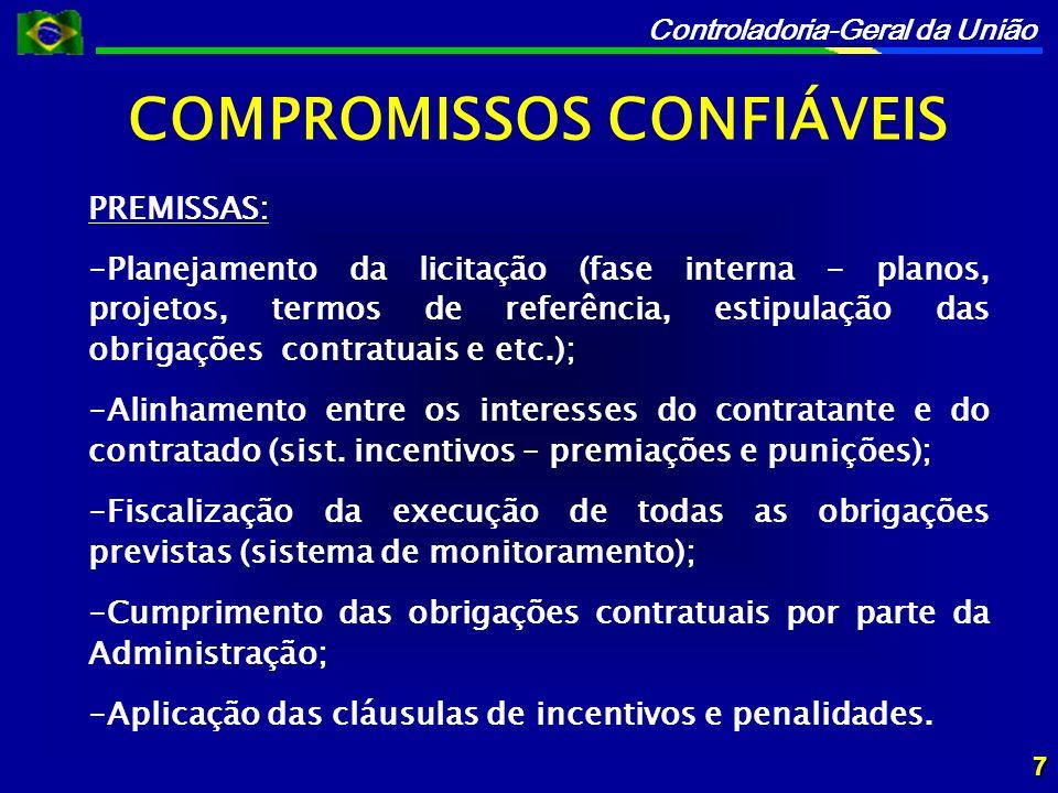 Controladoria-Geral da União COMPROMISSOS CONFIÁVEIS 7 PREMISSAS: -Planejamento da licitação (fase interna - planos, projetos, termos de referência, estipulação das obrigações contratuais e etc.); -Alinhamento entre os interesses do contratante e do contratado (sist.
