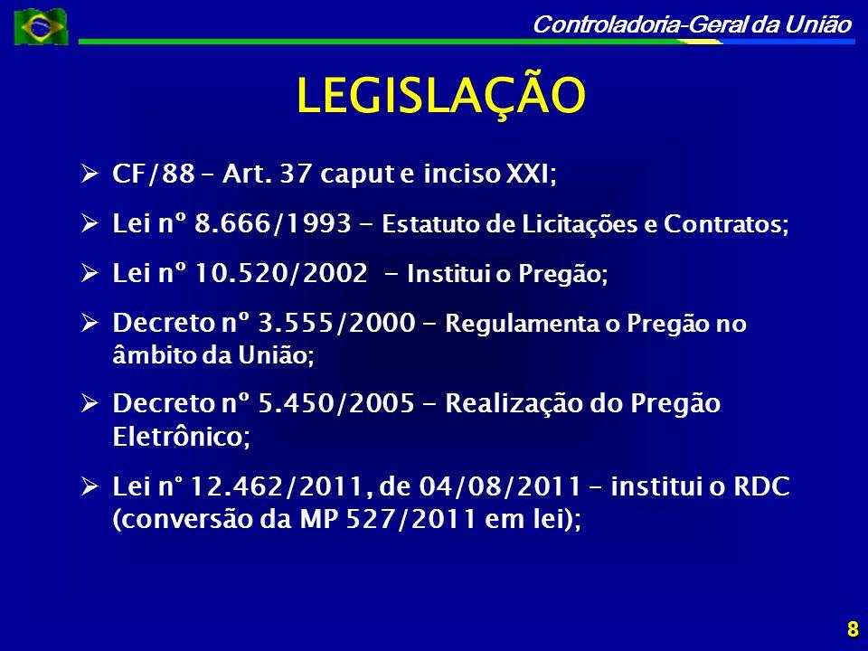 Controladoria-Geral da União MPs n° 488 e n° 489, de 12/05/10 – perderam eficácia por decurso de tempo; MP 527/2011 – 18/03/2011; Lei n° 12.462, de 04/08/2011 – institui o RDC; Decreto n° 7.581, de 11/10/2011 – regulamenta o RDC; Lei n° 12.688, de 18/07/2012 – RDC para obras do PAC; LEGISLAÇÃO DO RDC 9