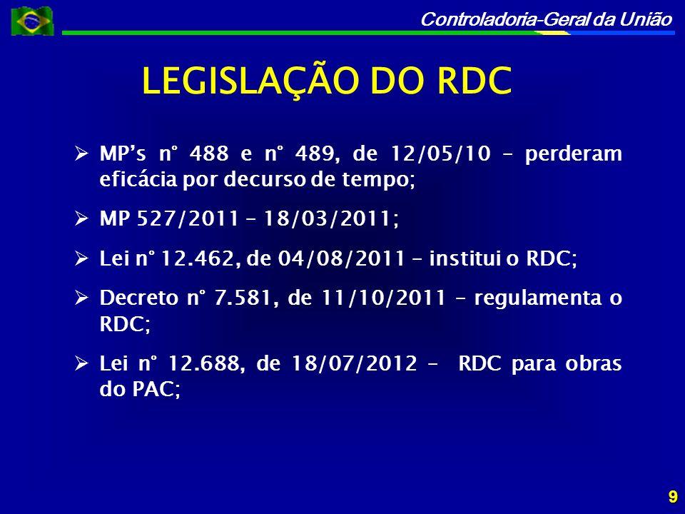 Controladoria-Geral da União Lei n° 12.722, de 03/10/2012 – Uso do RDC para obras e serviços de engenharia no âmbito dos sistemas públicos de ensino; Lei n° 12.745, de 19/12/2012 – Uso do RDC para obras e serviços de engenharia no SUS; Lei n° 12.815, de 05/06/2013 – Uso do RDC no âmbito do Programa Nacional de Dragagem Portuária e Hidroviária II; Lei n° 12.833, 20/06/2013 – Uso do RDC para recursos do FNAC.