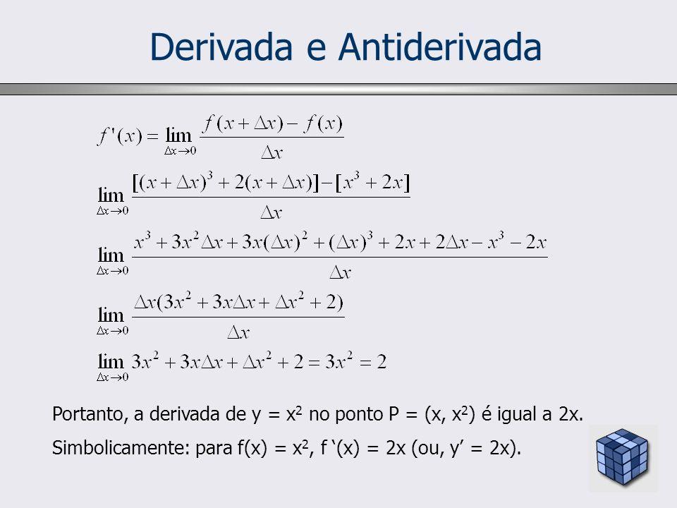 Derivada e Antiderivada Portanto, a derivada de y = x 2 no ponto P = (x, x 2 ) é igual a 2x. Simbolicamente: para f(x) = x 2, f (x) = 2x (ou, y = 2x).