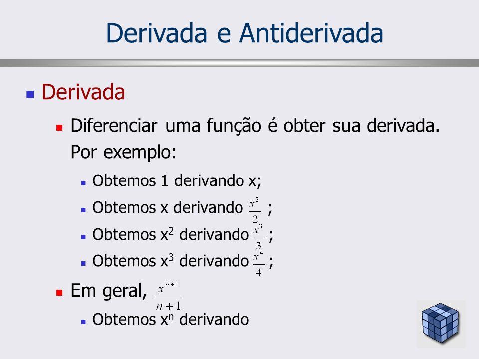 Derivada e Antiderivada Derivada Diferenciar uma função é obter sua derivada. Por exemplo: Obtemos 1 derivando x; Obtemos x derivando ; Obtemos x 2 de
