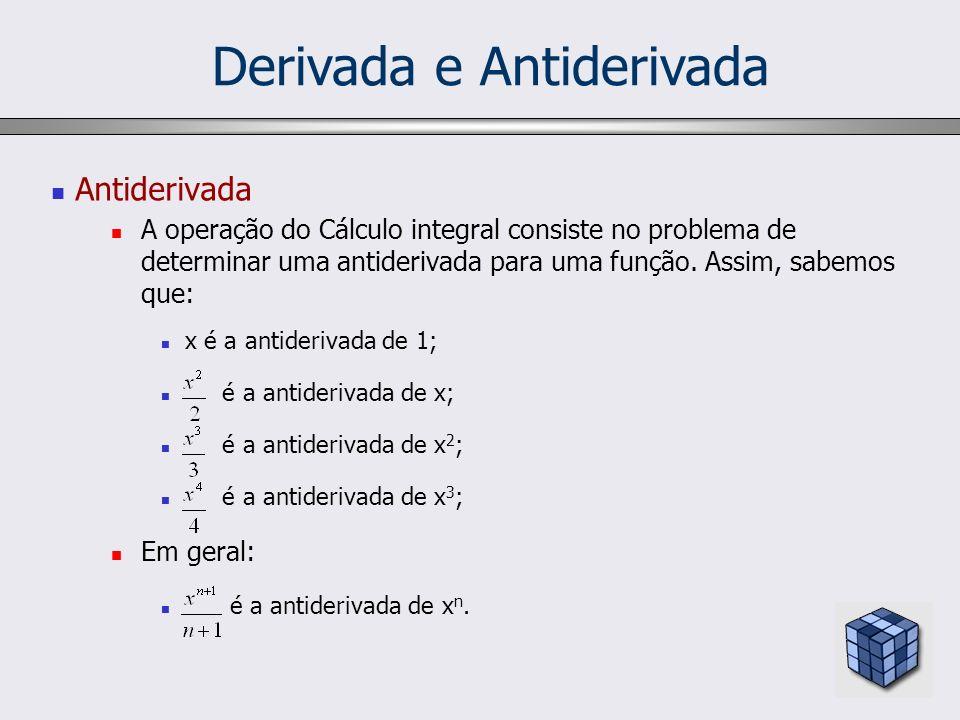 Derivada e Antiderivada Antiderivada A operação do Cálculo integral consiste no problema de determinar uma antiderivada para uma função. Assim, sabemo