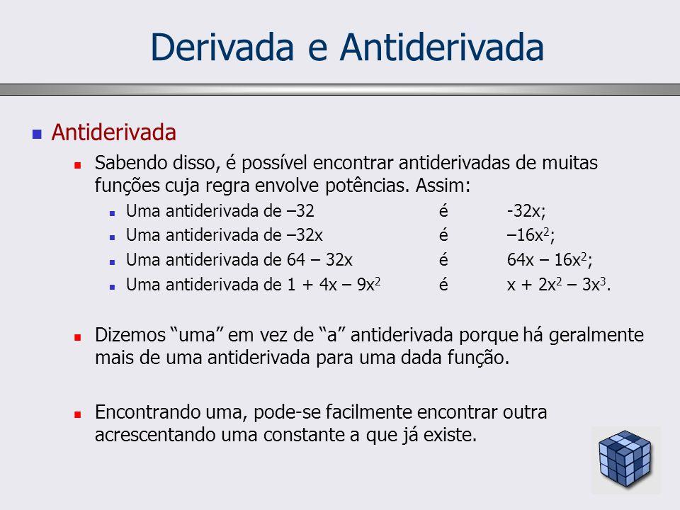 Derivada e Antiderivada Antiderivada Sabendo disso, é possível encontrar antiderivadas de muitas funções cuja regra envolve potências. Assim: Uma anti