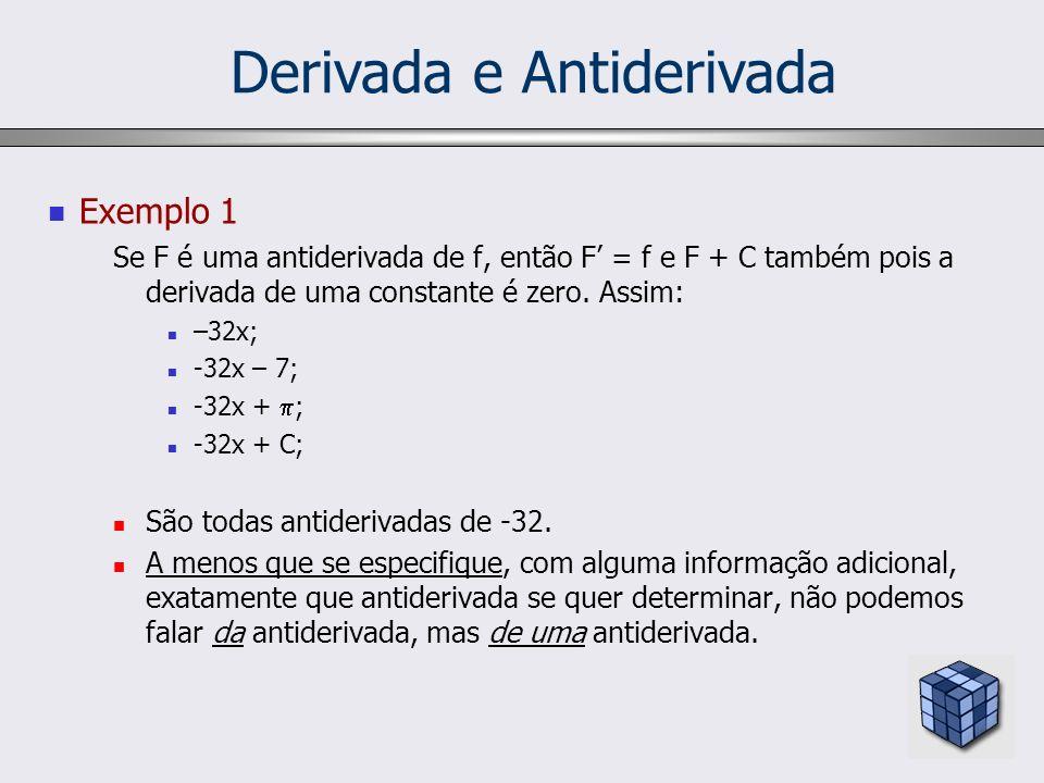 Derivada e Antiderivada Exemplo 1 Se F é uma antiderivada de f, então F = f e F + C também pois a derivada de uma constante é zero. Assim: –32x; -32x