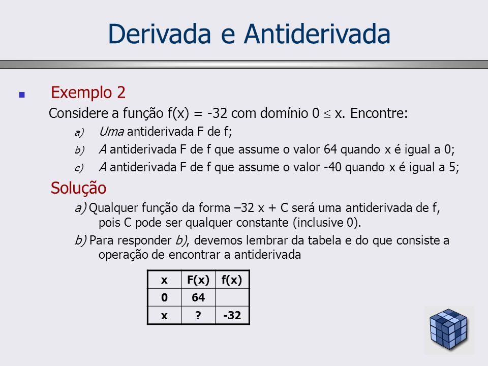 Derivada e Antiderivada Exemplo 2 Considere a função f(x) = -32 com domínio 0 x. Encontre: a) Uma antiderivada F de f; b) A antiderivada F de f que as