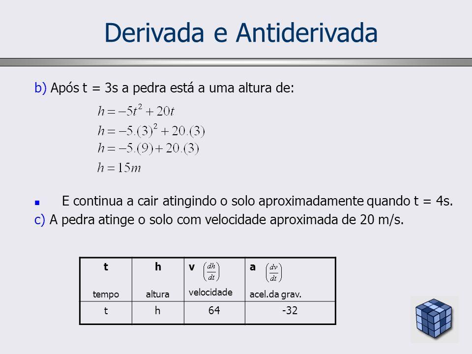 Derivada e Antiderivada b) Após t = 3s a pedra está a uma altura de: E continua a cair atingindo o solo aproximadamente quando t = 4s. c) A pedra atin