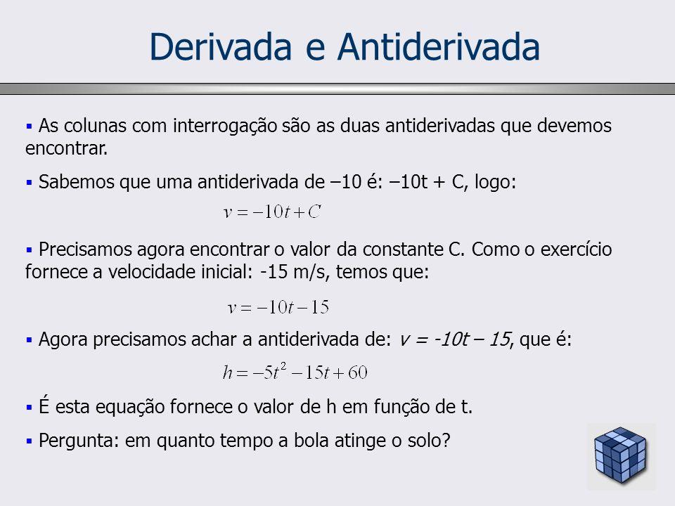 Derivada e Antiderivada As colunas com interrogação são as duas antiderivadas que devemos encontrar. Sabemos que uma antiderivada de –10 é: –10t + C,