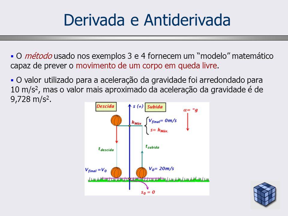 Derivada e Antiderivada O método usado nos exemplos 3 e 4 fornecem um modelo matemático capaz de prever o movimento de um corpo em queda livre. O valo