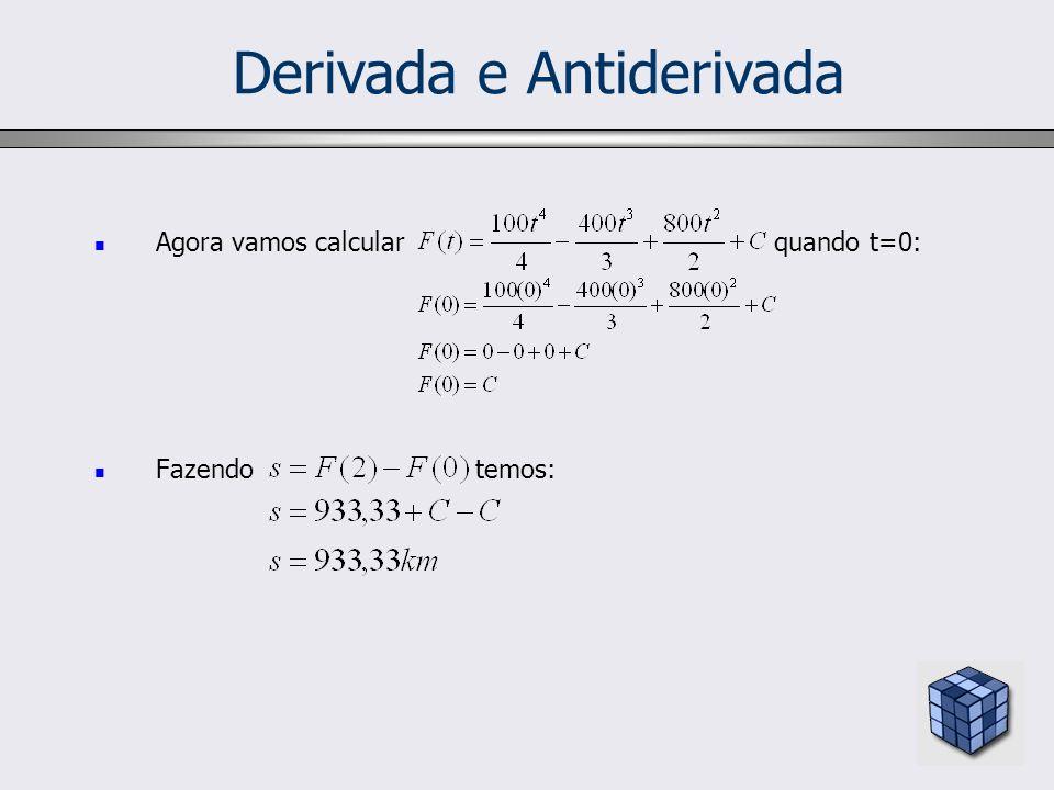 Derivada e Antiderivada Agora vamos calcular quando t=0: Fazendo temos: