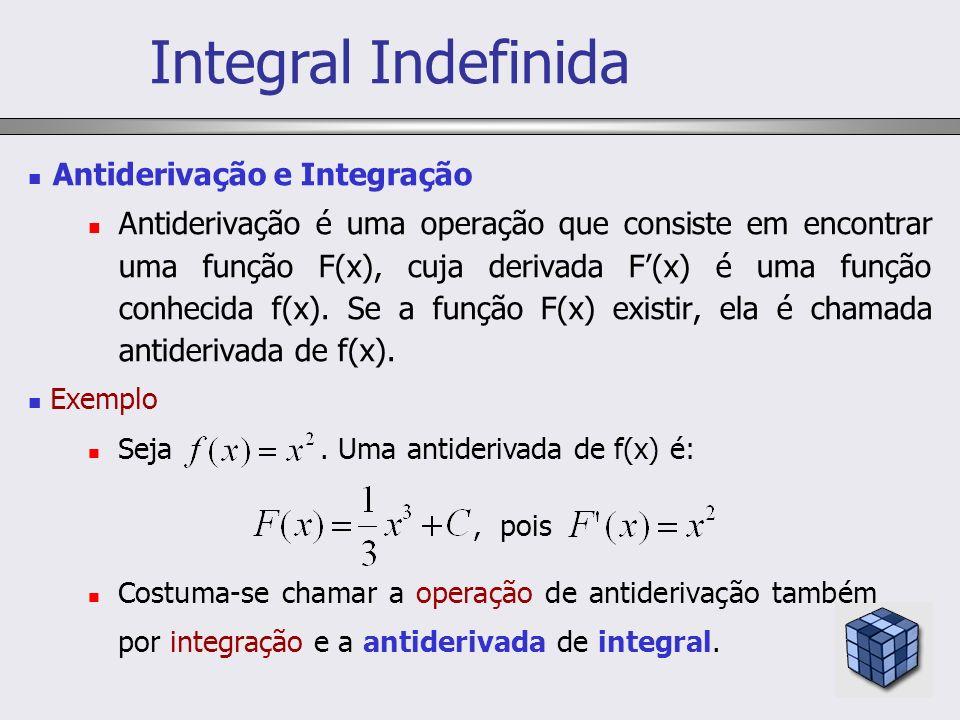 Antiderivação e Integração Antiderivação é uma operação que consiste em encontrar uma função F(x), cuja derivada F(x) é uma função conhecida f(x). Se
