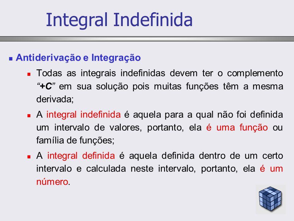 Antiderivação e Integração Todas as integrais indefinidas devem ter o complemento+C em sua solução pois muitas funções têm a mesma derivada; A integra