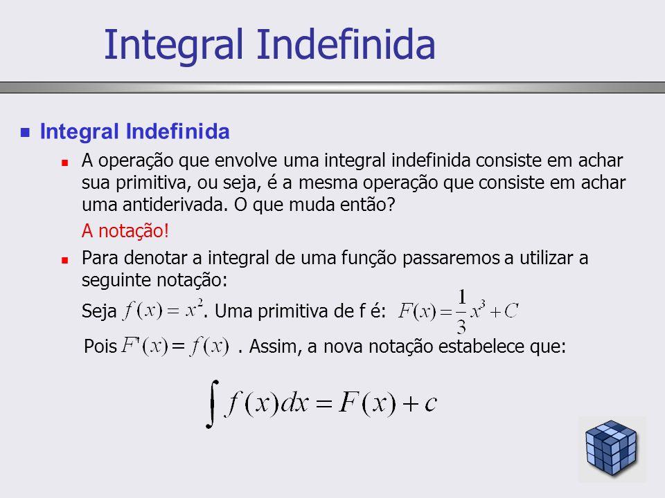 A operação que envolve uma integral indefinida consiste em achar sua primitiva, ou seja, é a mesma operação que consiste em achar uma antiderivada. O