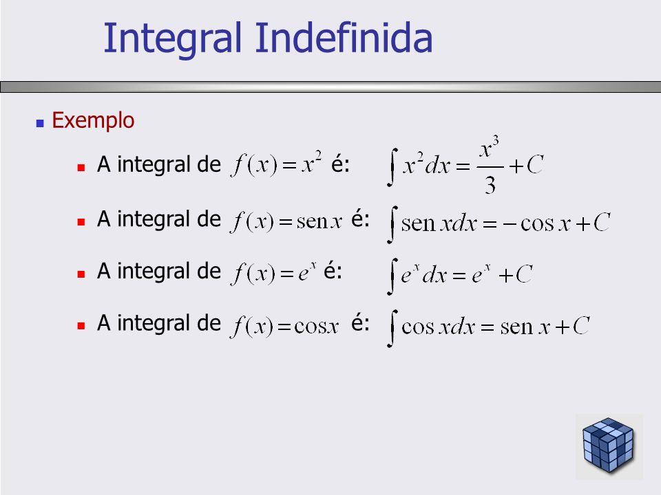 Exemplo A integral de é: Integral Indefinida A integral de é: