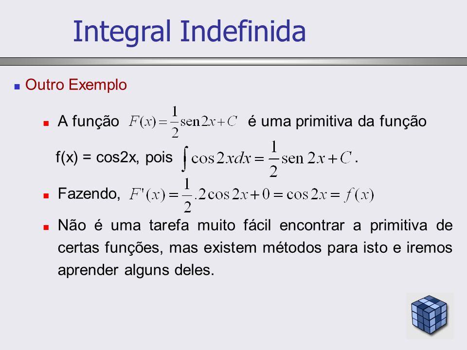 Outro Exemplo A função é uma primitiva da função f(x) = cos2x, pois. Fazendo, Não é uma tarefa muito fácil encontrar a primitiva de certas funções, ma