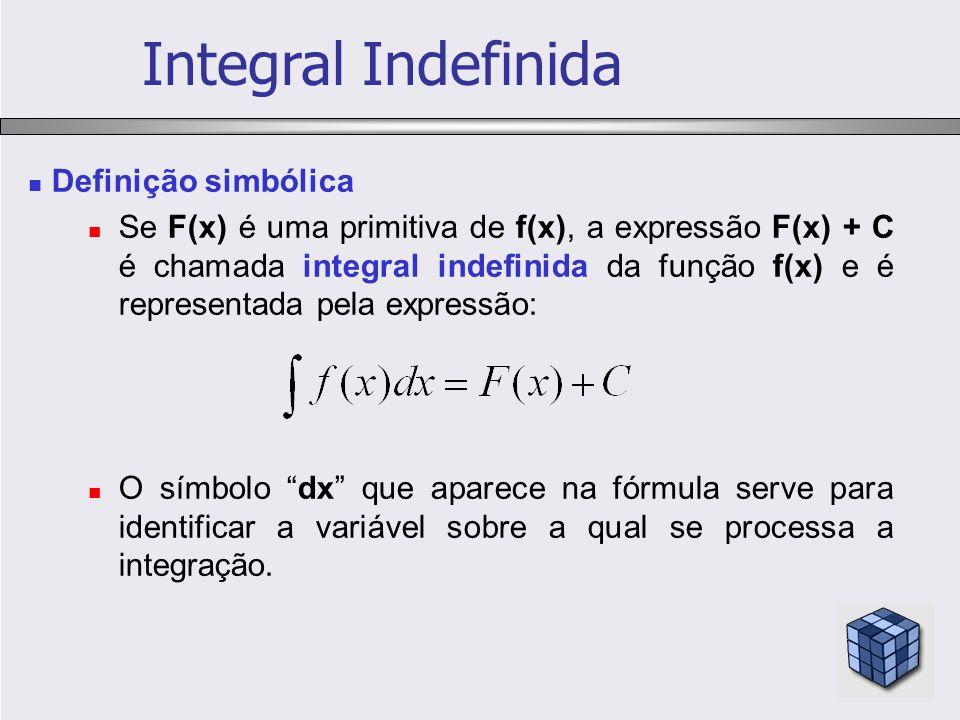 Definição simbólica Se F(x) é uma primitiva de f(x), a expressão F(x) + C é chamada integral indefinida da função f(x) e é representada pela expressão