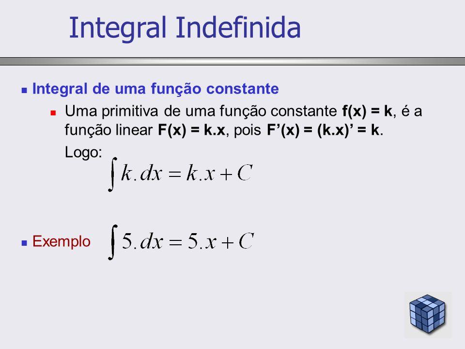 Integral de uma função constante Uma primitiva de uma função constante f(x) = k, é a função linear F(x) = k.x, pois F(x) = (k.x) = k. Logo: Exemplo In