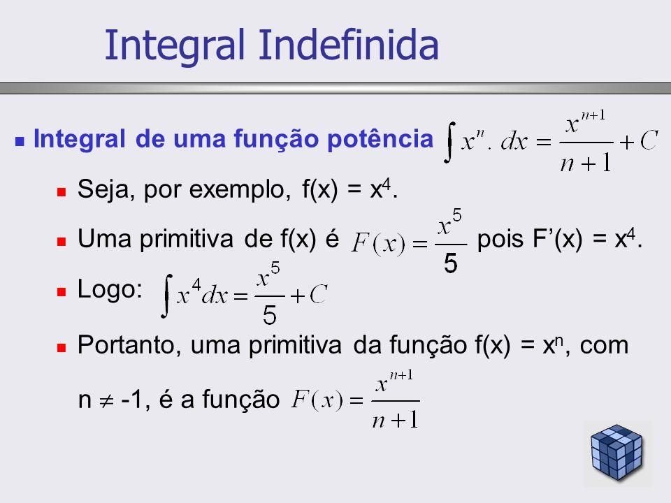 Integral de uma função potência Seja, por exemplo, f(x) = x 4. Uma primitiva de f(x) é pois F(x) = x 4. Logo: Portanto, uma primitiva da função f(x) =