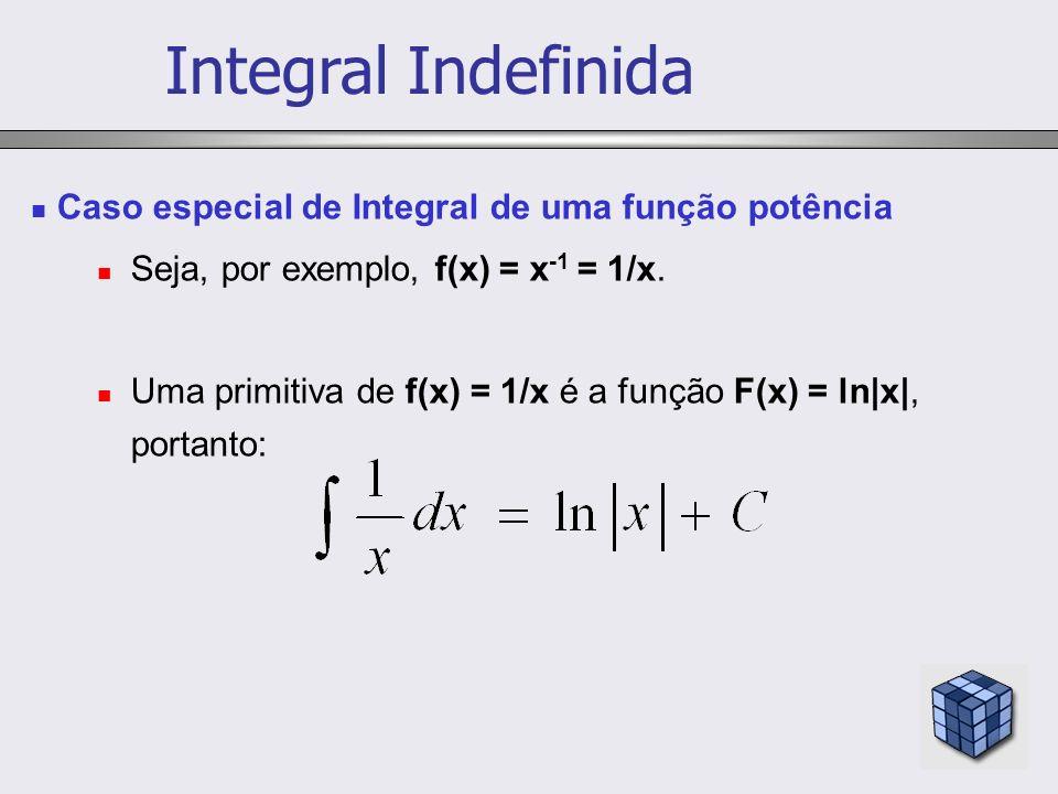Caso especial de Integral de uma função potência Seja, por exemplo, f(x) = x -1 = 1/x. Uma primitiva de f(x) = 1/x é a função F(x) = ln|x|, portanto: